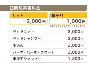 カット 2,000円 顔そり 1,000円 毛染め 5,000円 パーマ 5,000円 ベッドシャンプー 3,000円 出張費 1,000円